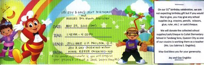 Sample jollibee invitation cogimbo jollibee birthday party packages my son s 2nd stopboris Gallery