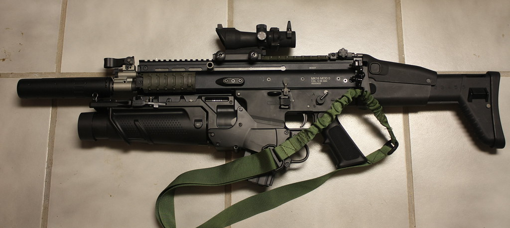 We Scar Gbb With Grenade Launcher Red Dot And Barrel