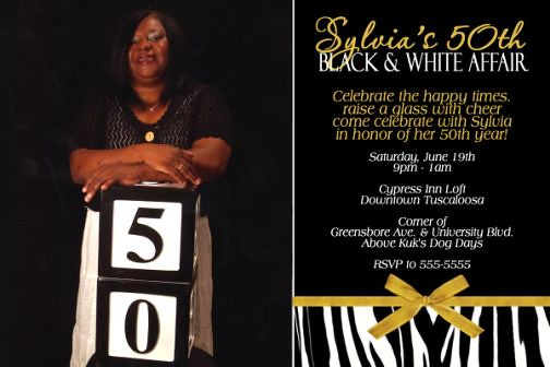 50th Black Tie Affair Birthday Invitation Zebra Print Gold