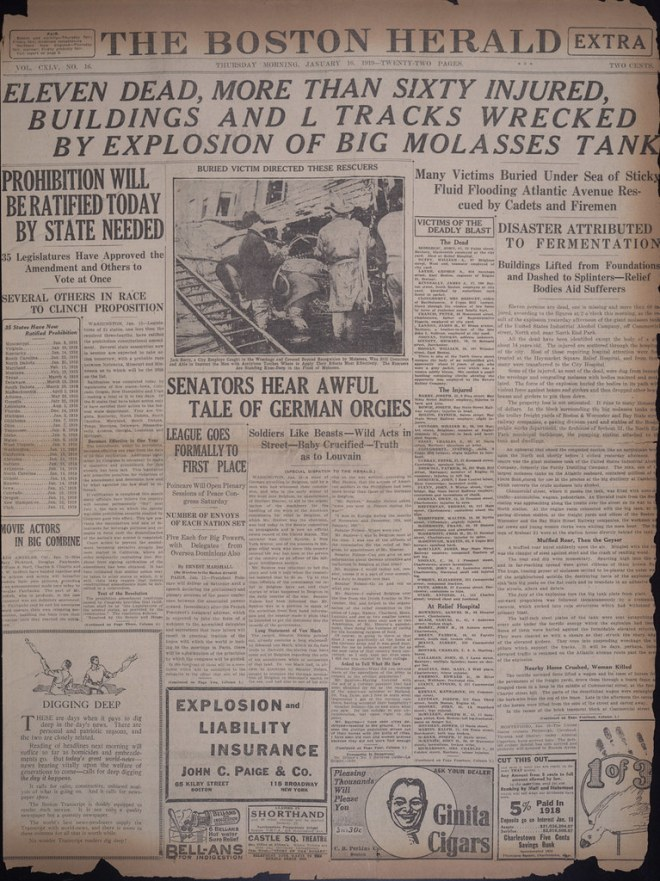 Eleven dead, more than sixty injured, buildings and L tracks wrecked by explosion of big molasses tank [Boston Herald, January 16, 1919]