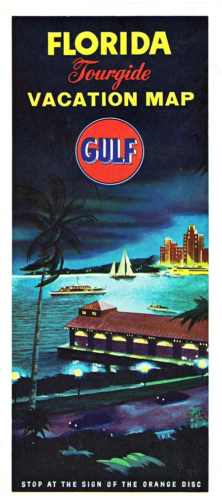 RETRO FLORIDA 1955 Gulf Oil Road Map Front The