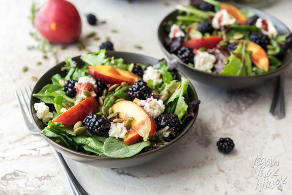 This Summery Salad has delicious nectarines, berries, homemade almond ricotta and a wonderful Blackberry Vinaigrette! It's as beautiful as it is tasty. #vegan #glutenfree #soyfree #veganyackattack