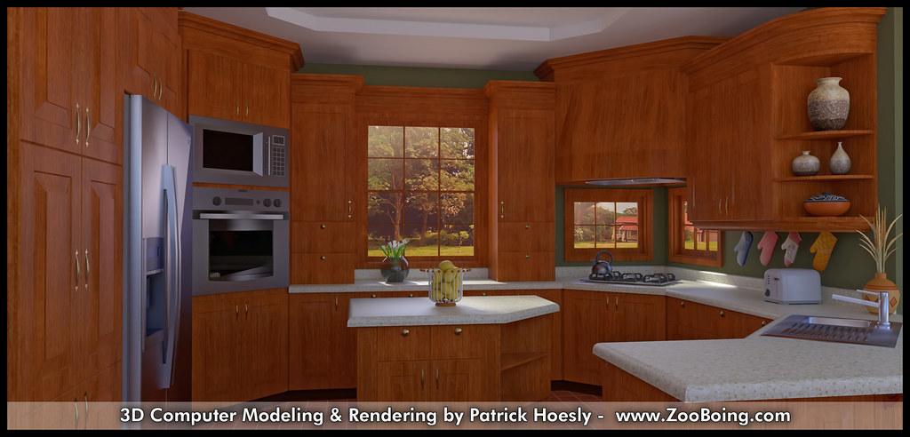3D Computer Rendering Kitchen Photo Real Click To