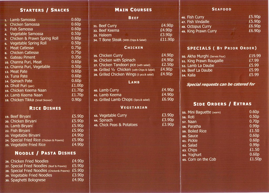 Menu At Le Chamarel Turnpike Lane London N8 Links See
