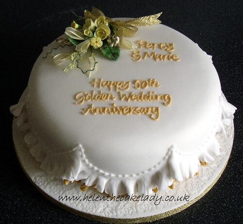 Golden Wedding Anniversary Cake Round Delicately Frilled