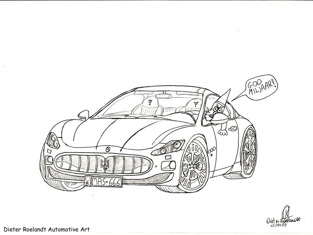 Car Drawing Maserati Granturismo Ft Kabouter Wesley
