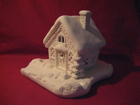 Ceramic BIsque Christmas House A Ready To Paint Ceramic