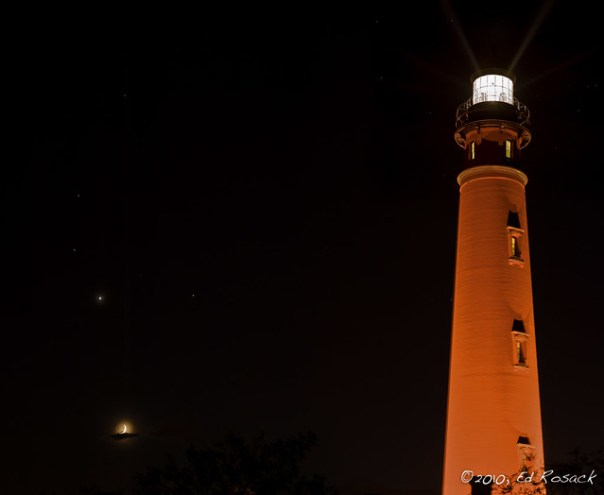 Ponce Inlet light, Moon, Venus, Mars, Saturn