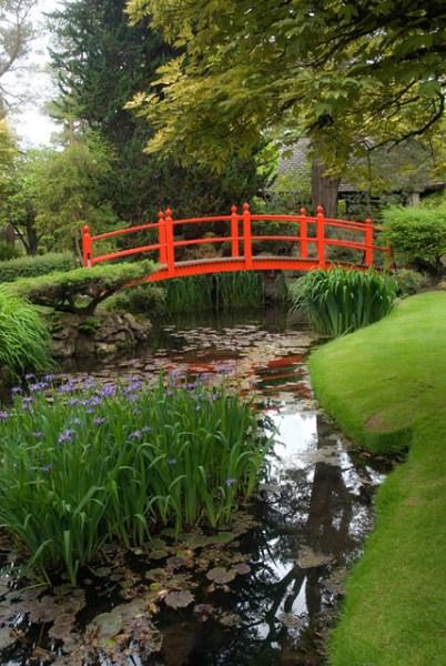 japanese gardens kildare ireland Red footbridge in Irish Japanese Gardens, Kildare, Ireland