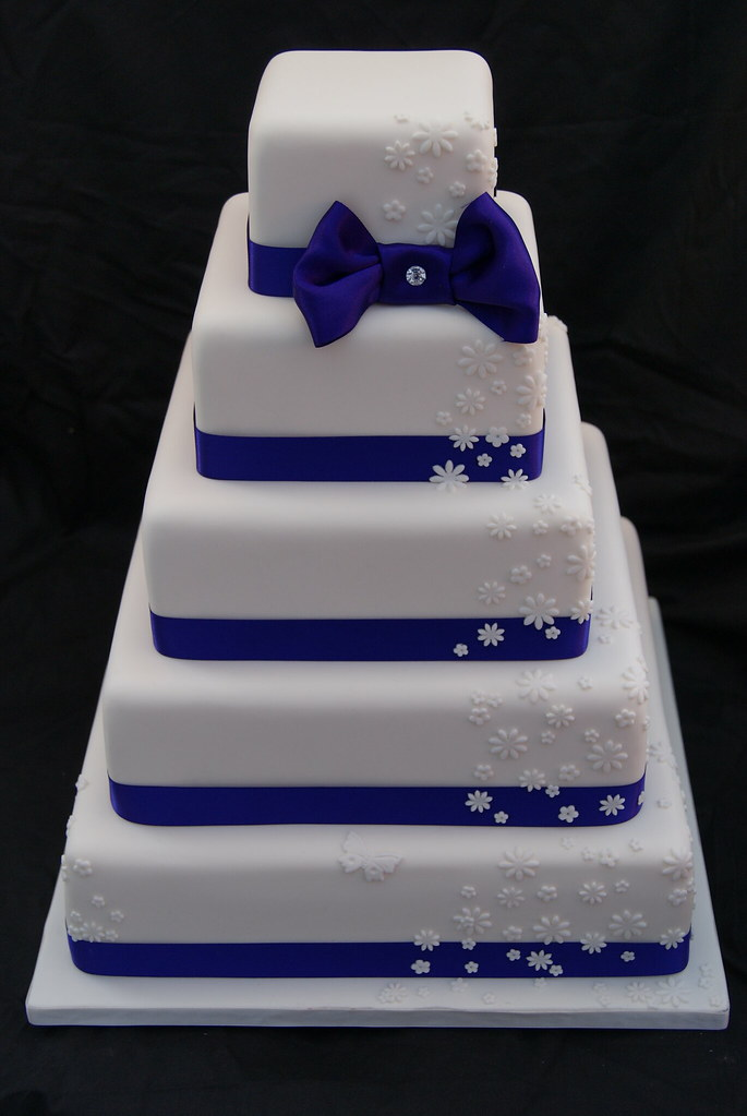 Purple With Flower Cascade Wedding Cake Five Tier