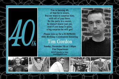 Black Turquoise 40th Birthday Photo Invitation Modern Chil