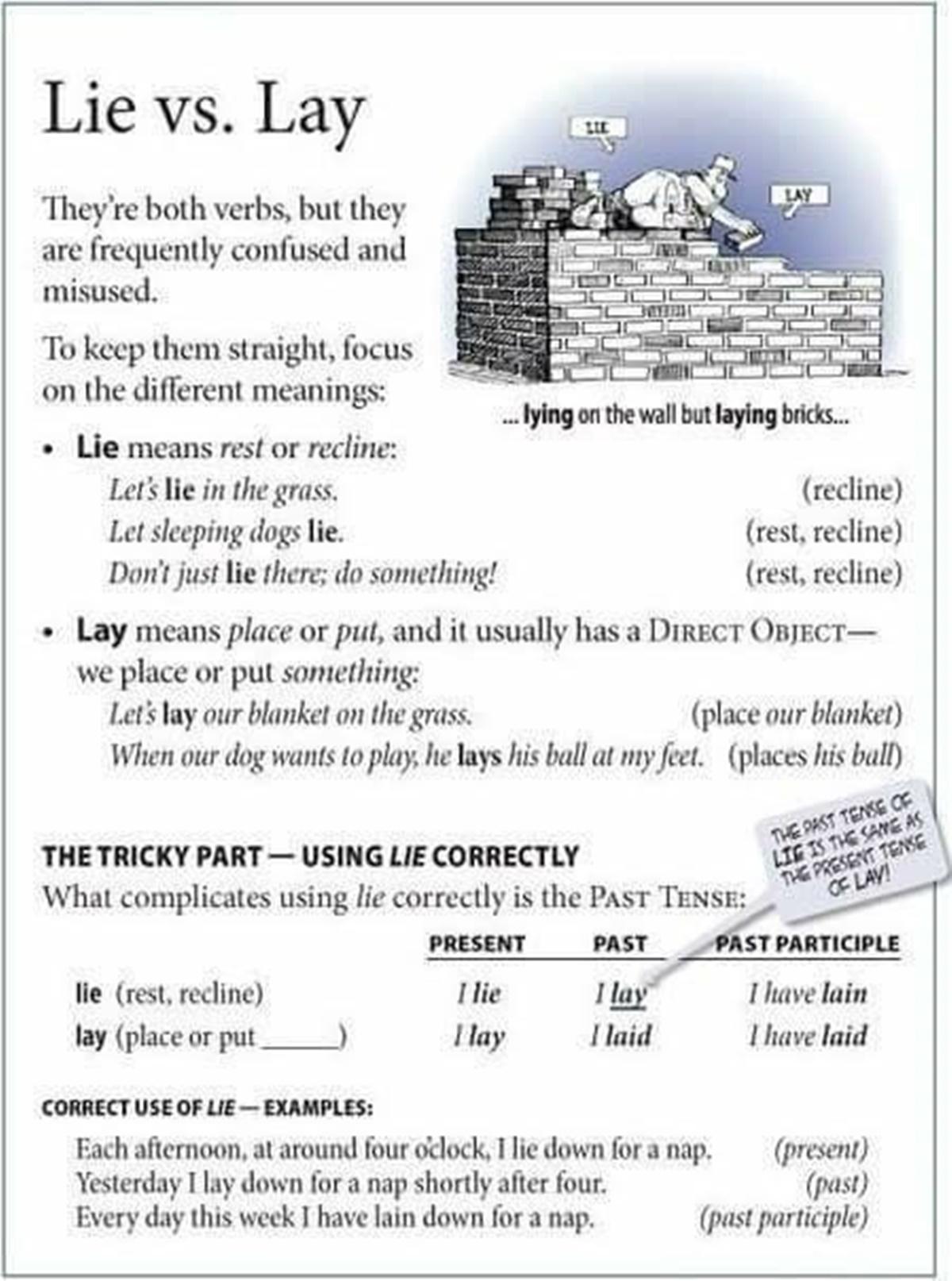 Grammar Worksheet Lie Vs Lay