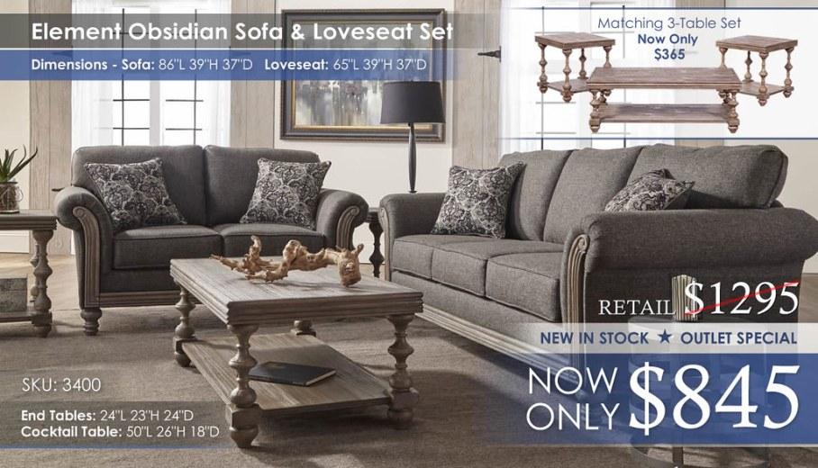 Element-Obsidian Sofa & Loveseat Set_3400
