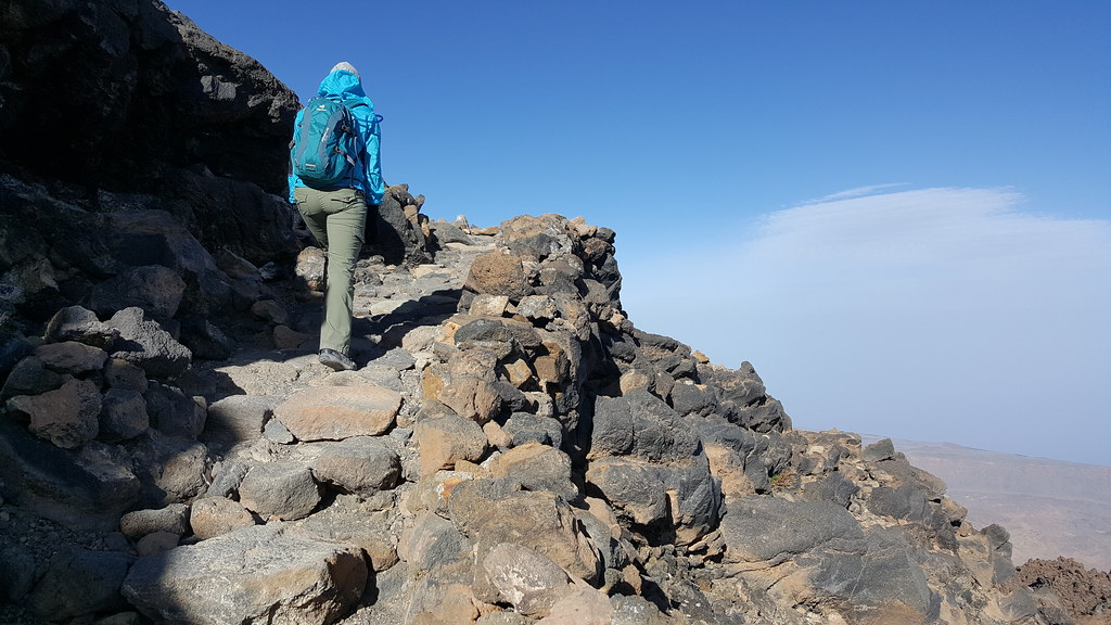 reaching the top of mount teide