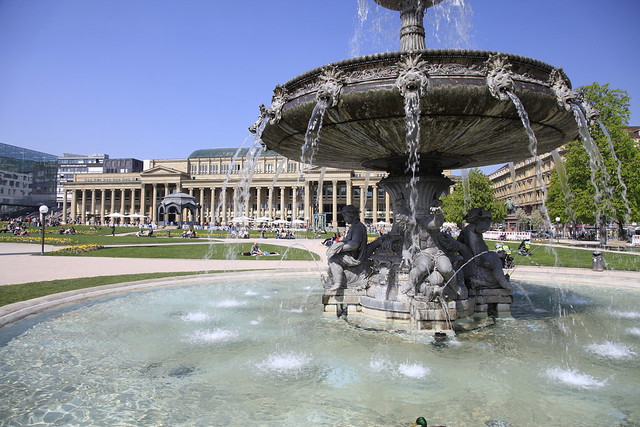 Stuttgart city center Schlossplatz fountain