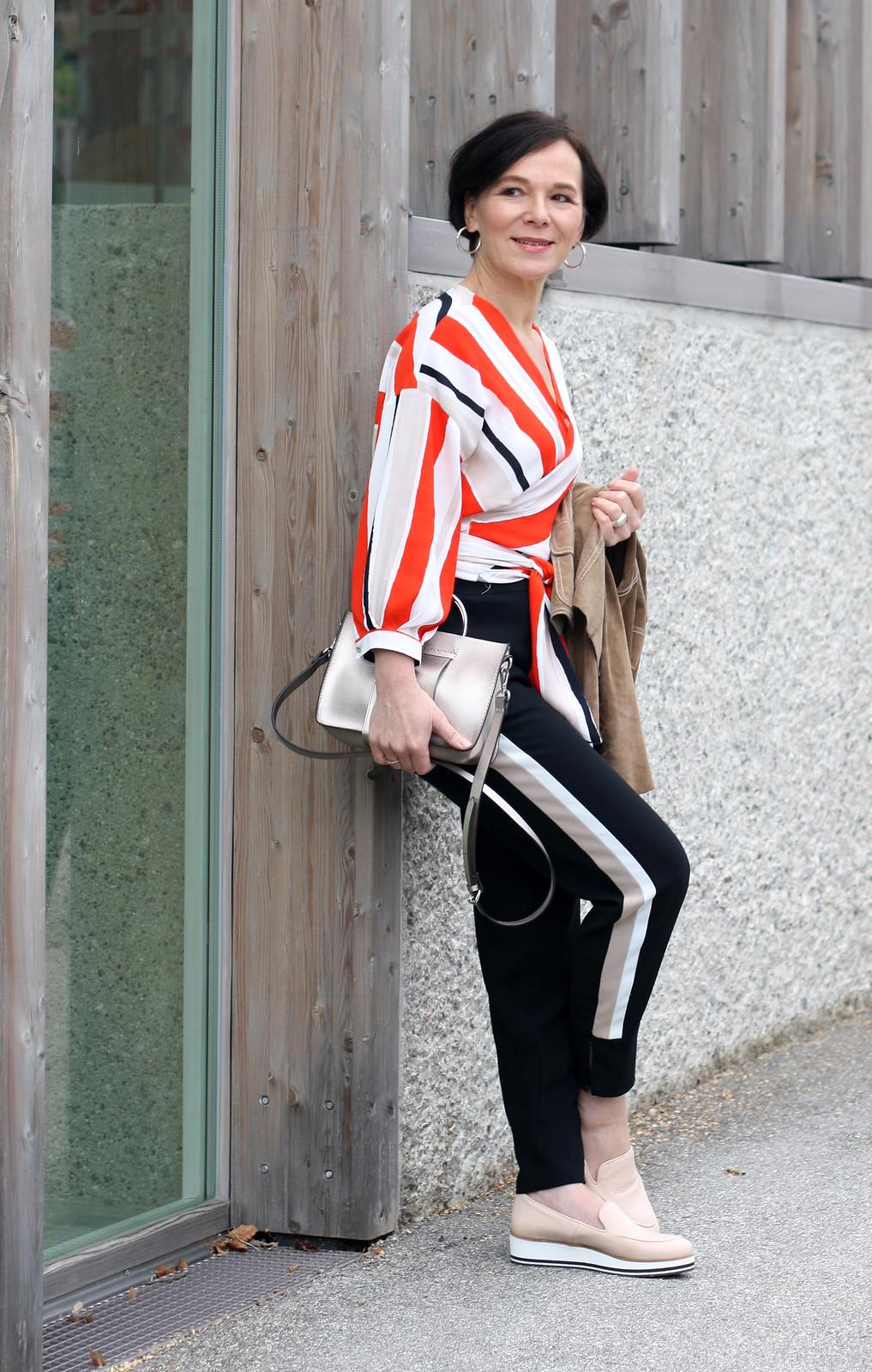 Zara Orange Striped Blouse
