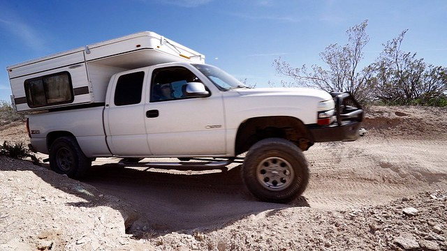 Dad's 2001 Chevrolet Silverado with a 2015 Four Wheel Camper on the Mojave Road