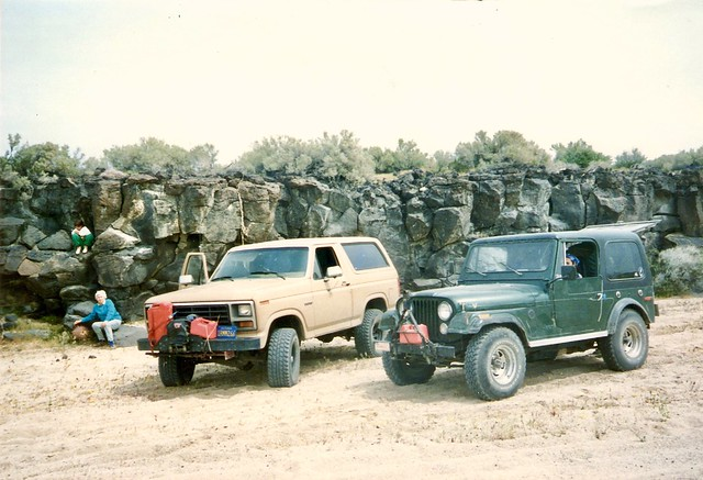 Dad's old Bronco and my old Jeep on the Mojave Road in 1995