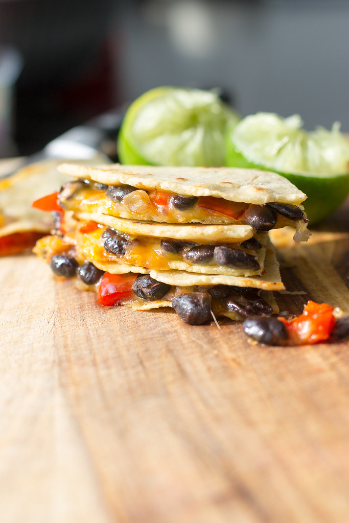Spicy black bean quesadillas with roasted red peppers.