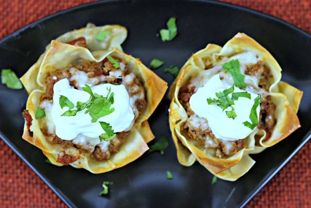 Muffin tin taco cups top