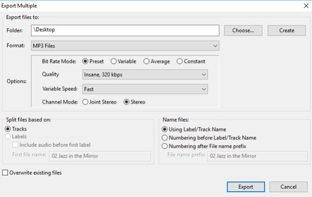 Step 3: Selecting your export format and other details
