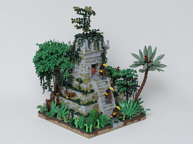 Temple maya et conquistadors
