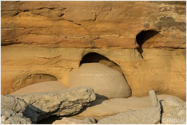 Het water heeft de stenen een mooie vorm gegeven.