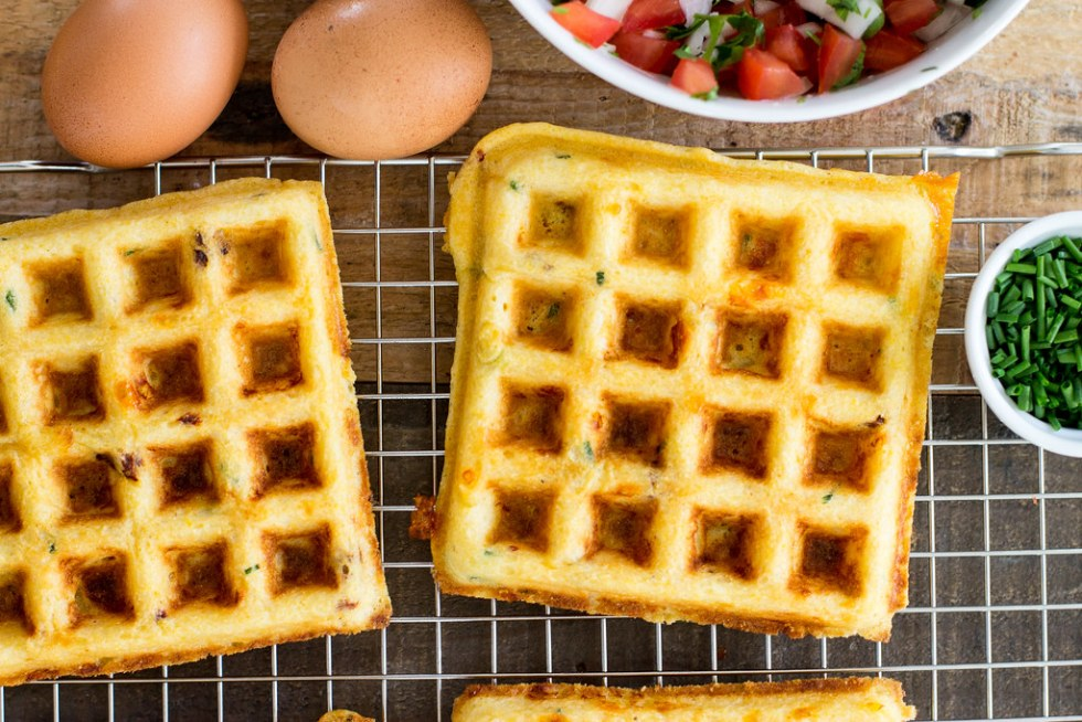 Cornmeal cheddar chipotle waffles.