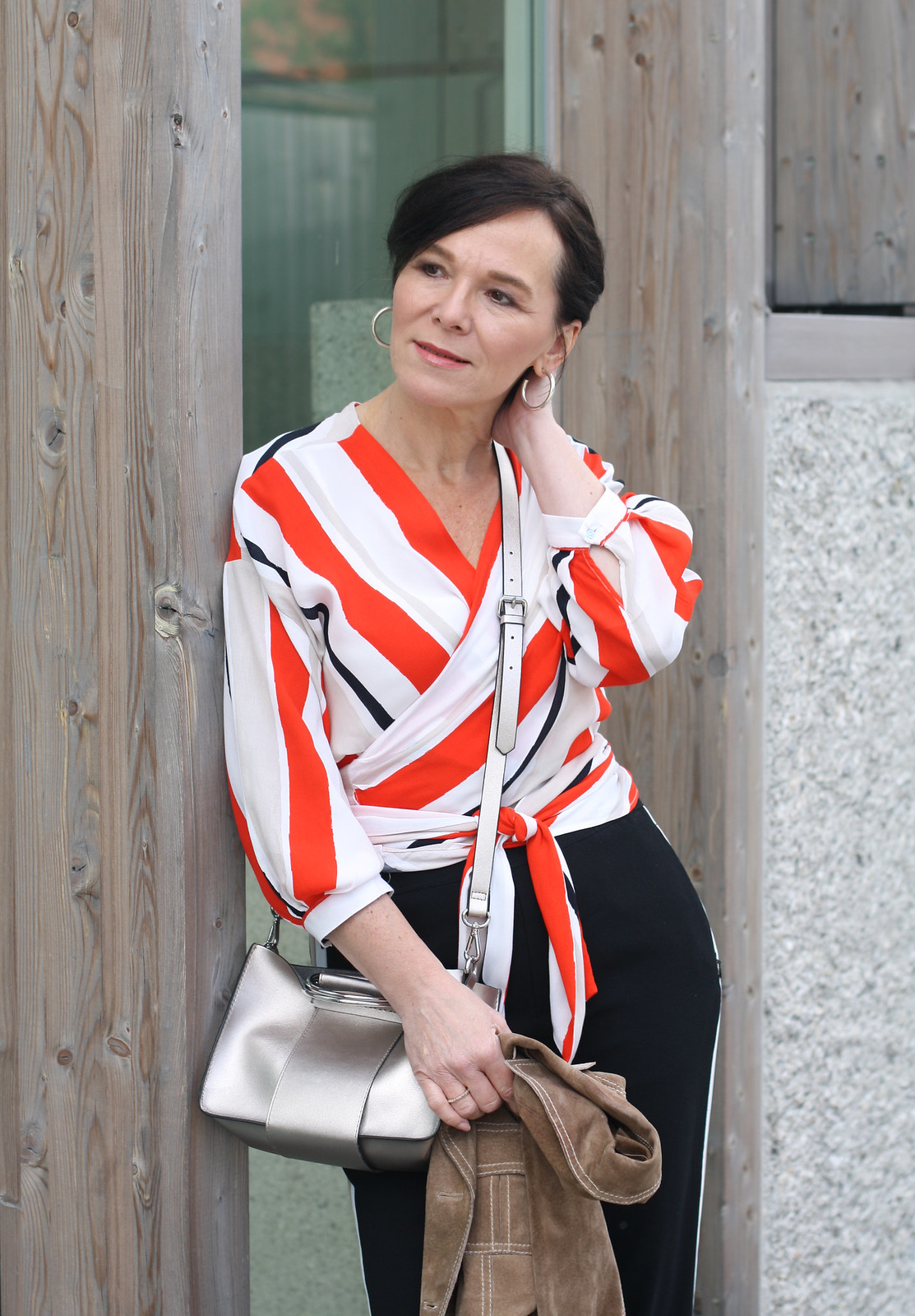 Zara Orange Striped Blouse