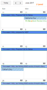 image of @JLenniDorner Google calendar set with goals