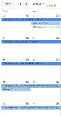 image of @JLenniDorner Google calendar set with goals
