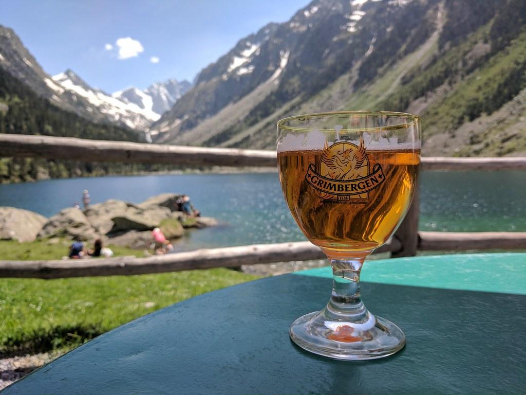Drinking Beer at Lac de Gaube