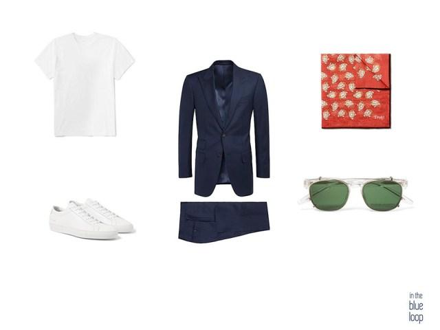 Traje para hombre con un look masculino con camiseta blanca, pañuelo de bolsillo, gafas de sol para hombre y sneakers blancas