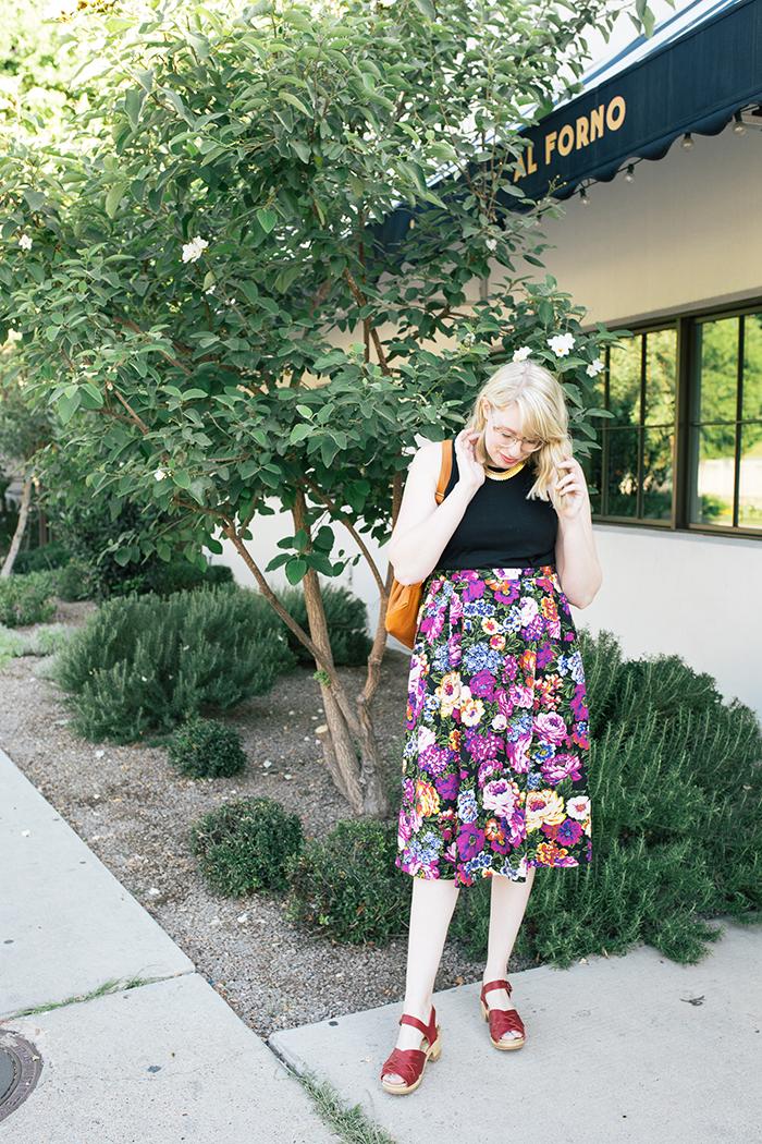 austin style blogger vintage floral midi skirt6