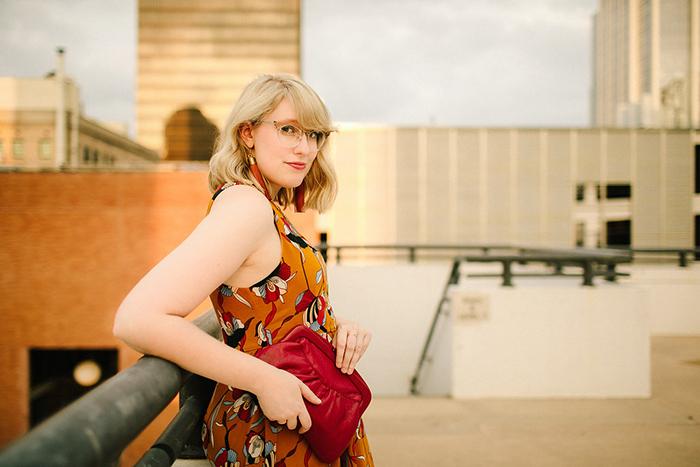 austin style blogger writes like a girl floral mustard dress3