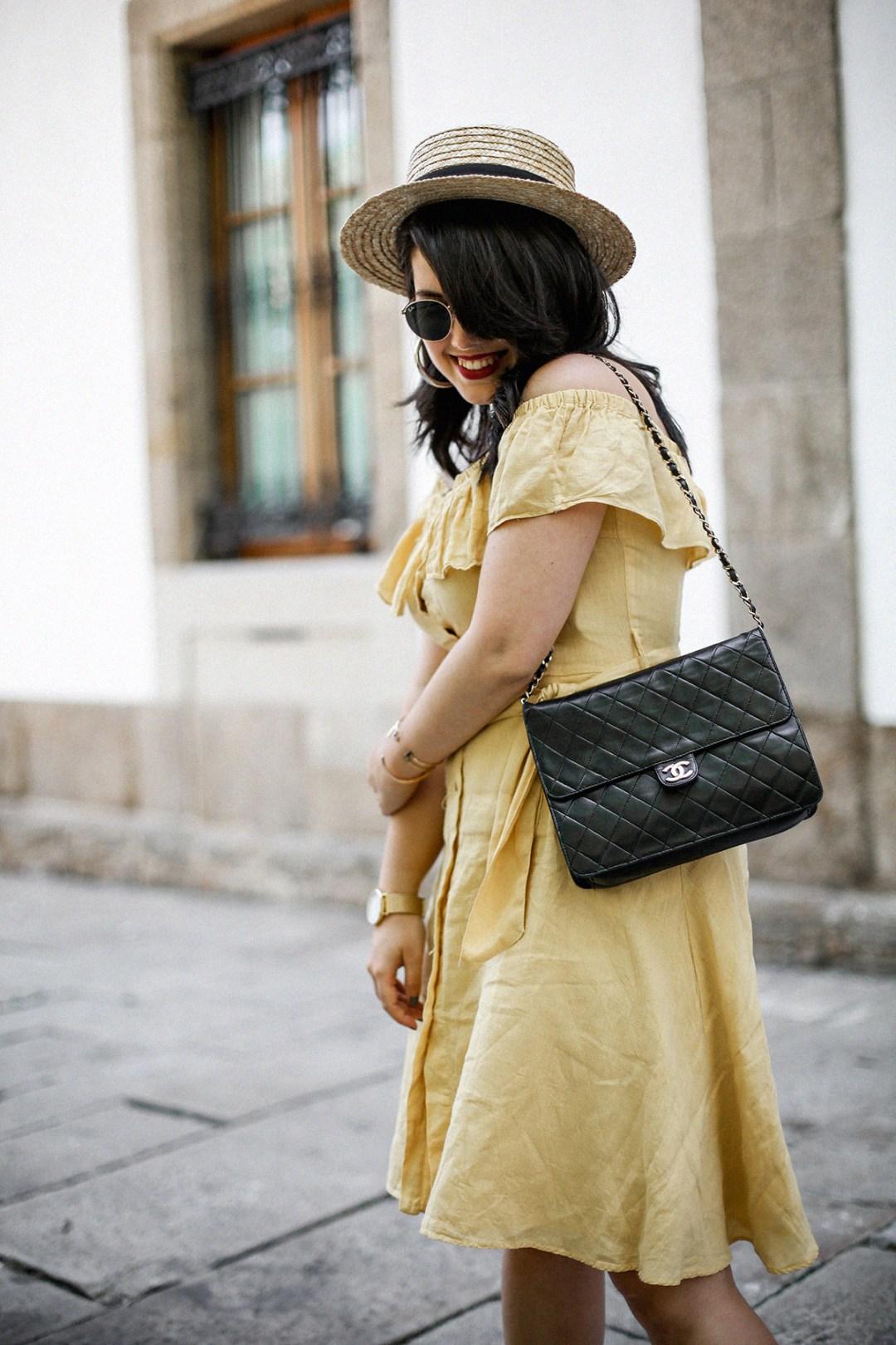 vestido-amarillo-hombros-descubiertos-zara-chanel-vintage-vestiaire-collective9