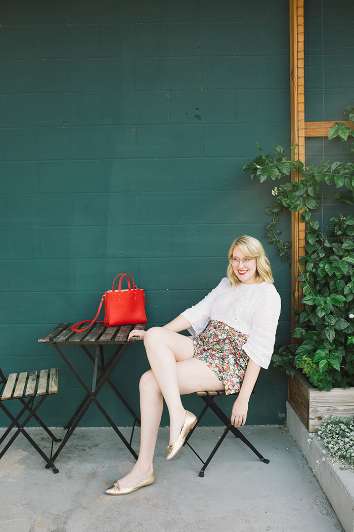 austin style blogger writes like a girl floral jcrew tie waist shorts1
