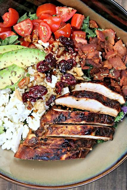 BLT Balsamic Chicken Avocado Feta Salad Vert