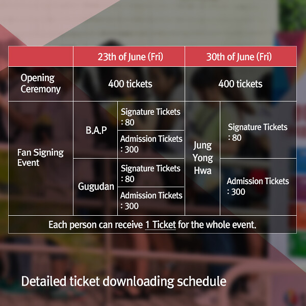 KBEE 2017 Ticket Download Schedule