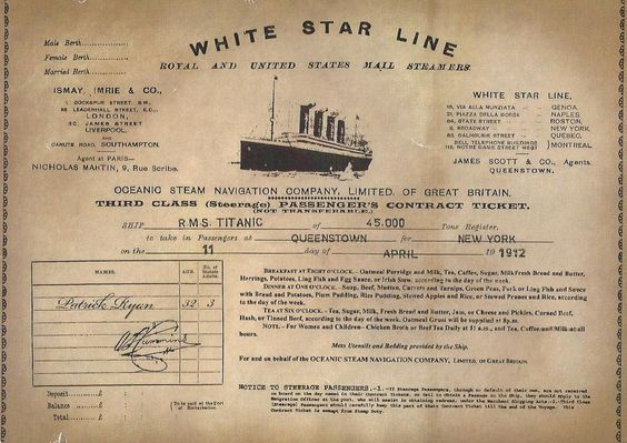 Titanic ticket image from Pinterest