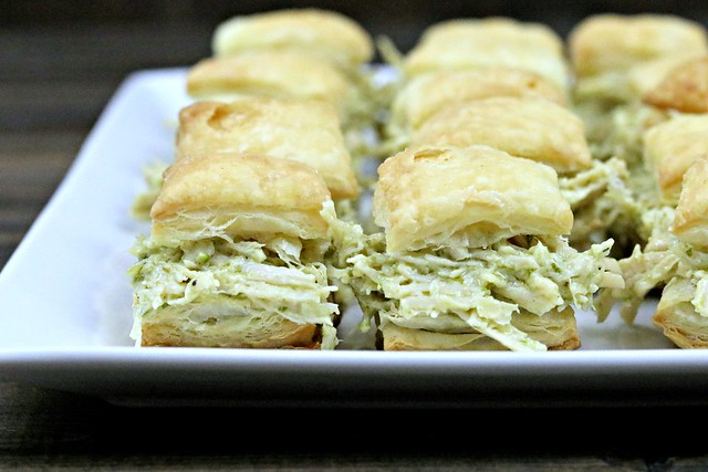 Chicken Pesto Puff Pastry Bites