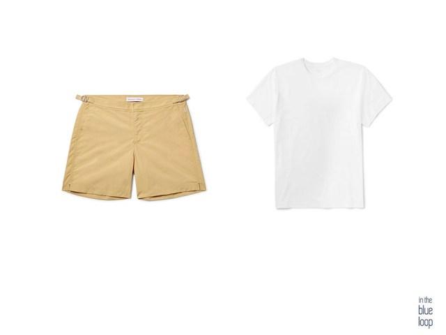 Look masculino con camiseta blanca y bañador para hombre tailored