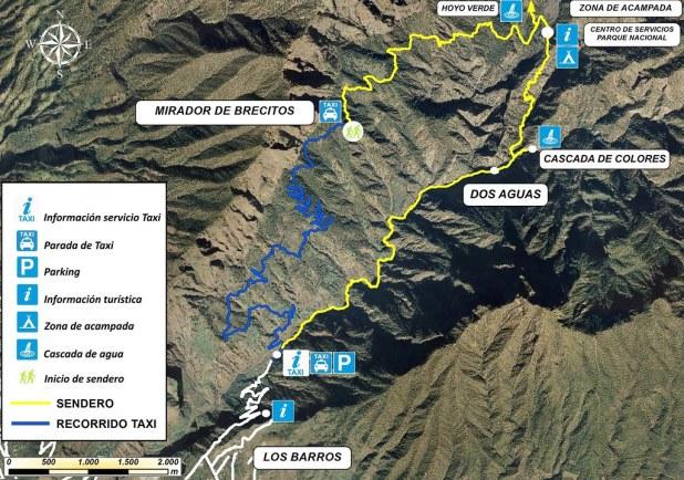 Mapa sendero Los Brecitos al barranco Las Angustias