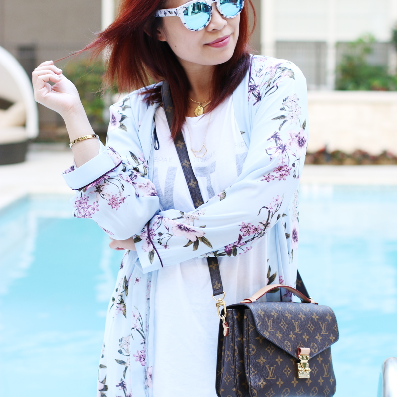 thursday white wildfox tee floral kimono louis vuitton bag