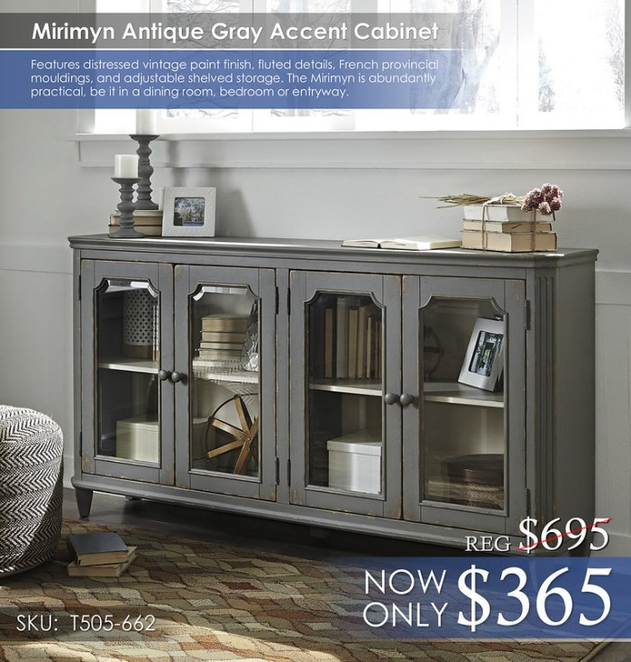Mirimyn Antique Gray Accent Cabinet T505-662