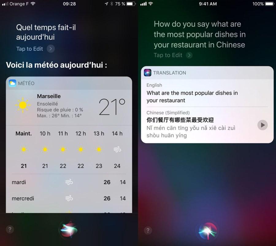 Siri traduction iOS11 iPhone 2x