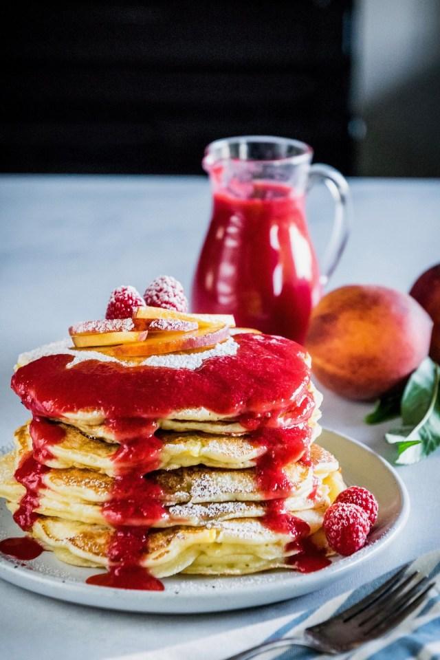 peach melba pancakes