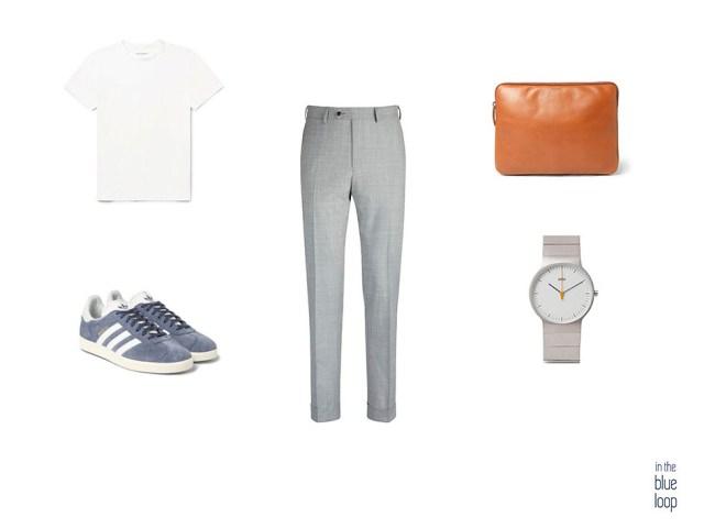 Look masculino con pantalones de vestir par hombre, camiseta blanca, portafolio, reloj y sneakers de Adidas