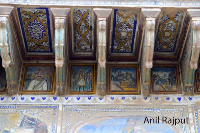 Fresco paintings inner walls of haveli in Churu
