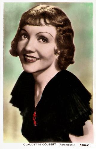 Claudette Colbert British Postcard By Valentines No